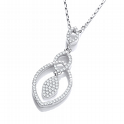 "J-Jaz Micro Pave' Tear Drop Pendant with 18"" Chain"